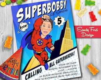 Superhero Birthday Invitation, Personalized Superhero Invitation, Superhero Birthday Party Invitation, Illustrated from photo DIGITAL FILE