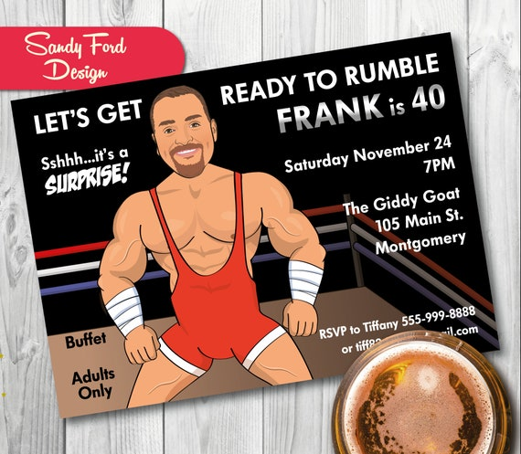 Wrestling Birthday Party Invitation Mans 40th Birthday Etsy