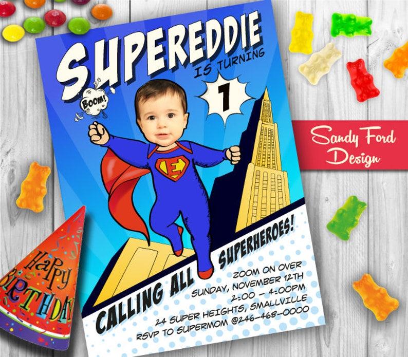 Baby Superhero 1st Birthday Party Invitation Personalized