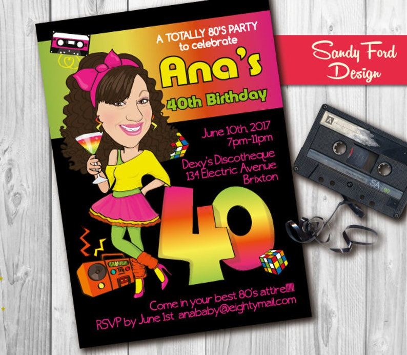 Womens 80s Theme Birthday Party Invitation 21st 30th 40th 50th Person