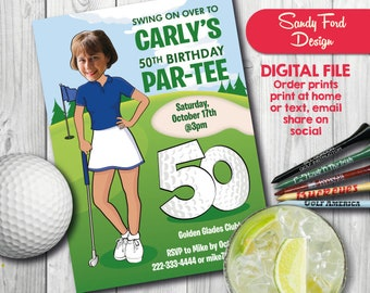 Woman's Golf Birthday Party Invitation - ANY AGE 30th 40th 50th 60th 70th 80th- Personalized with your photo - DIGITAL file