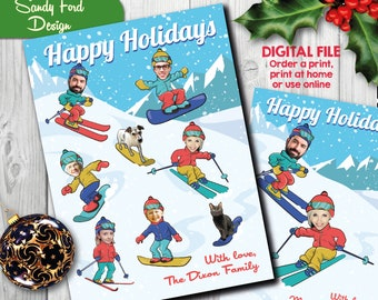 Family Christmas Card, Funny Photo Christmas Card - for up to 16 people (can include dogs and cats)  - Skiing and snowboard - DIGITAL FILE