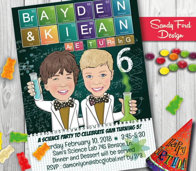 Science Birthday Party Invitation For Two Children Boys Girls