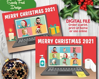 Personalized Family Christmas Card, Funny Photo Zoom Coronavirus Quarantine Christmas Card - for up to18 people - DIGITAL FILE