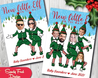 Christmas Pregnancy Announcement Card, Funny Photo Christmas Card - Christmas Elves - DIGITAL FILE