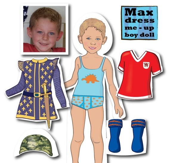 Boys Personalized MAGNETIC Paper Doll Printable