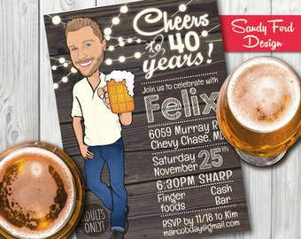 Man's Birthday Party Invitation - Rustic - 30th 40th 50th 60th any age - Illustrated from your photo DIGITAL FILE