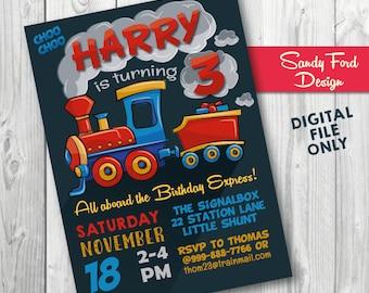 Train Birthday Party Invitation, Choo Choo Invitation, Train Invitation, Train Printable DIGITAL FILE