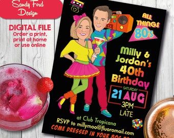 Couple's 80s Disco Party Invitation, 1980's disco invitation, neon party- Illustrated from your photo DIGITAL FILE