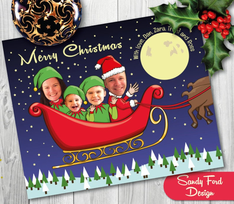 Family Christmas Card Funny Photo Christmas Card For Up To Etsy