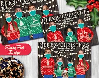 Face mask Ugly Sweater Family Christmas Card, Funny Photo Coronavirus Quarantine Christmas Card -  for 1-14 people - DIGITAL FILE