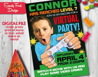 Virtual Video Game Birthday Party Invitation for boy or girl - Personalized with your photo DIGITAL FILE
