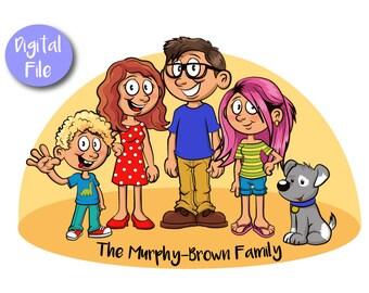 Custom Cartoon Family Portrait - PRINTABLE FILE