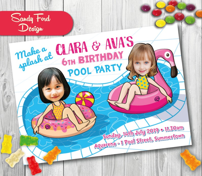 Pool Party Birthday Invitation For 2 Children Personalized
