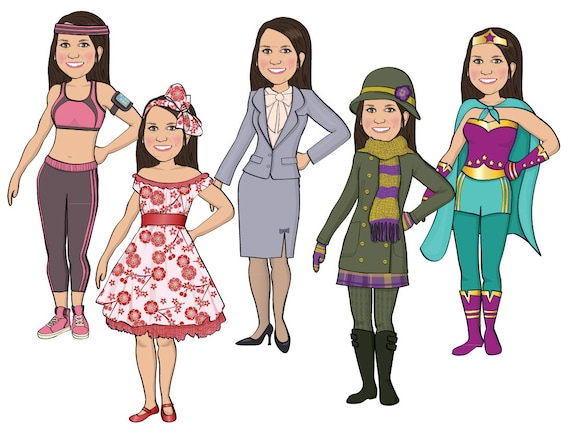 WOMANS Personalized MAGNETIC Paper Doll Illustrated