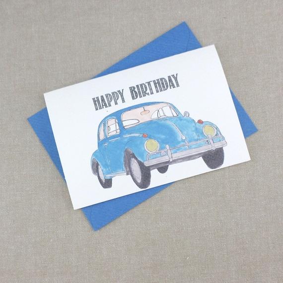 VW Beetle Happy Birthday Card Dad Cards