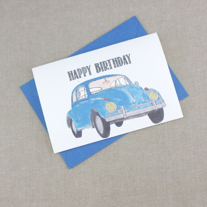 VW Beetle Happy Birthday Card Dad Cards