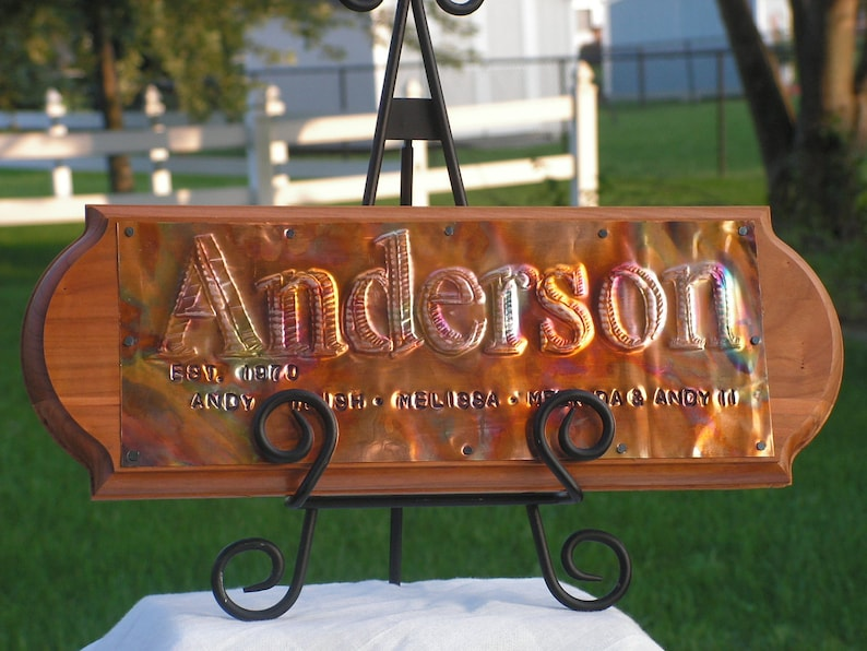 7th Anniversary Sign Copper Sign Family Sign Wedding Sign image 0