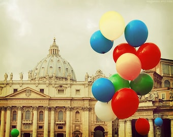 Rome, Vatican, Italy photograph, baloons, carnival, party, architecture print, travel photography for beautiful home decor, 8x8, 8x10, 8x12