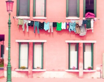 Murano photograph, Venice, Italy, photography, laundry photo, pink, architecture, travel photography, beautiful home decor, 8x8