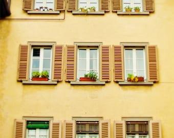 Italy Photography, Bergamo photograph, travel, wanderlust, windows, home decor, romantic photograph of Italy