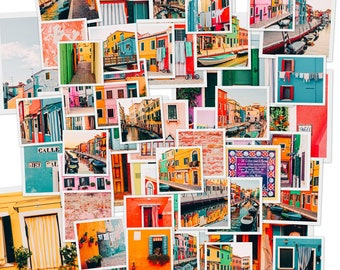 Photo collage kit: set of 50 photos from Burano (Venice, Italy) colorful, cheerful, aesthetic set for traveller, dorm decor, tezza inspired