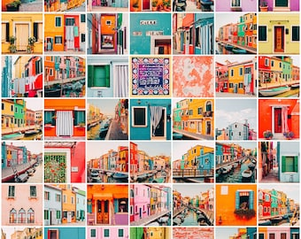 Photo collage kit: set of 50 photos from Burano (Venice, Italy) colorful, cheerful, aesthetic set for traveller, dorm decor, teen wall art