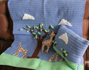 Giraffe Afghan, Pillow and Toy