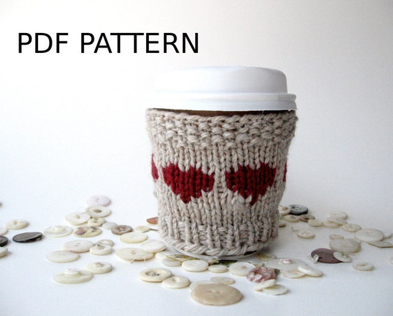 Heart Knitting Pattern Coffee Cozy Easy Knitting Pattern Etsy