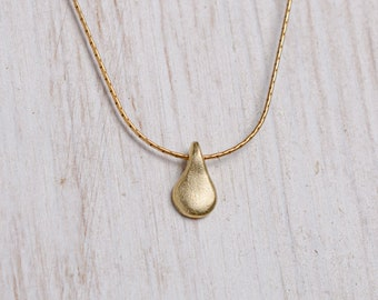 Tiny Teardrop Necklace, Gold Layered Droplet Necklace, Simple Gold Necklace, Gold Teardrop Necklace, Simple Gold Necklace