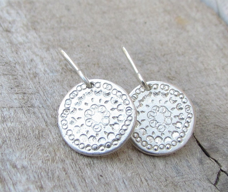 35b16c96b Silver Disc Earrings Sterling Silver Earring Simple Silver   Etsy