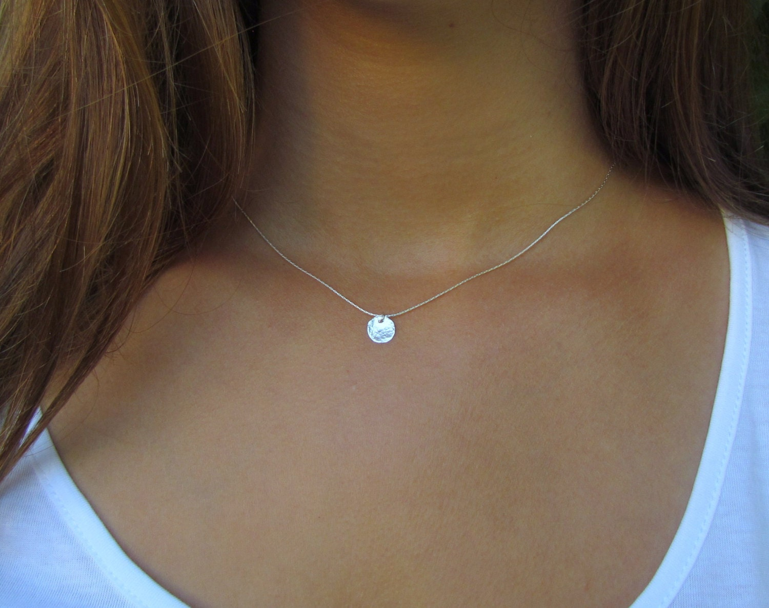 Tiny Silver Disc Necklace Dainty Silver Necklace Hammered