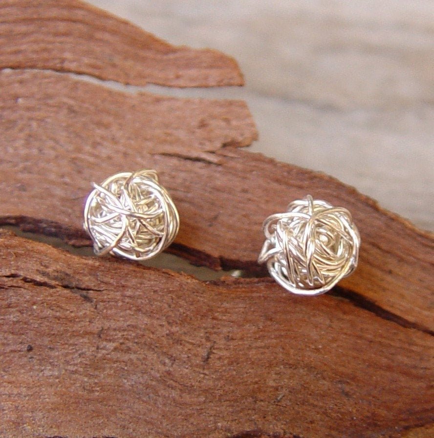 Small Sterling Silver Studs Wire Ball Post Earrings