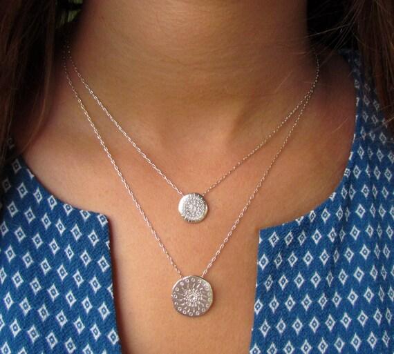 Mandala Jewelry Statement Necklace Mandala Necklace Coin Necklace Silver Necklace Silver Coin Necklace Silver Mandala Pendnat Necklace