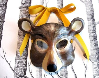 Bear Leather Mask, Child Size - Made to Order ECO-FRIENDLY Holiday