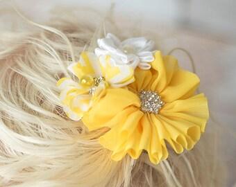 yellow hair clip, white hair clip, yellow flower clip, flower girl hair accessories, girl birthday gift, toddler hair clip, bridal hair clip