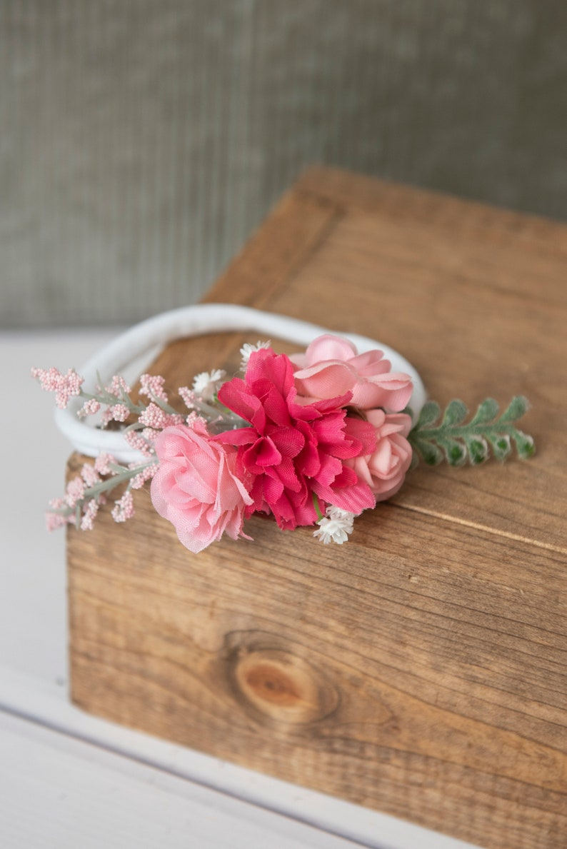 cherry blossom headband silk flower nylon headband pink Bridal hair accessory pink flower baby headband Pink rose flower nylon headband
