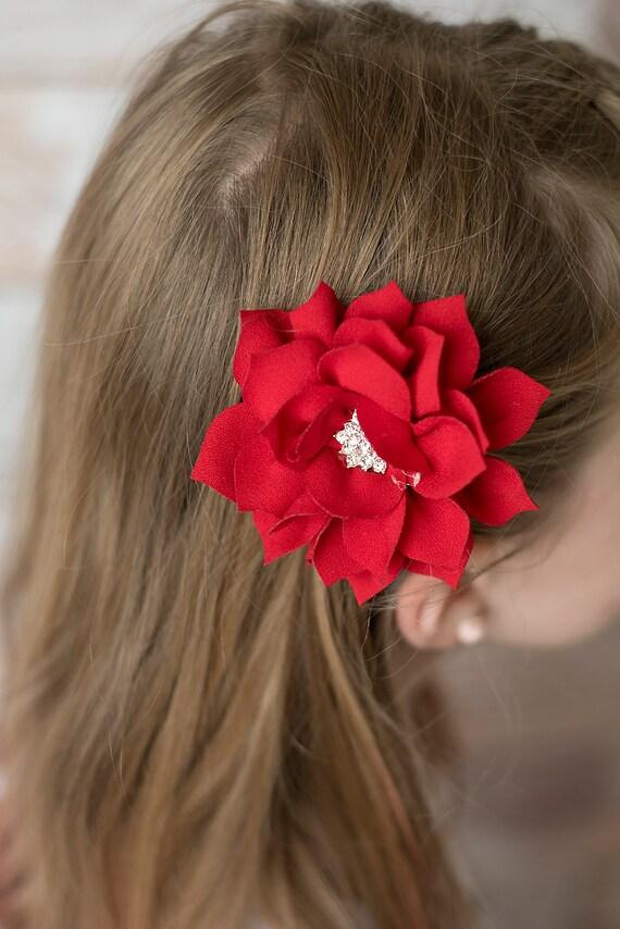 Red Poinsettia Flower Winter Christmas Girls Ribbon Barrette Clip Hair Bow Red Gold