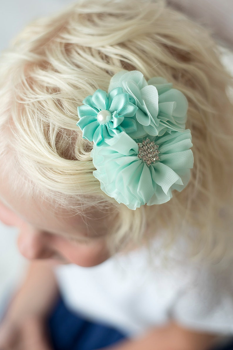 bridal hair clip girl hair clip mint wedding flower girl toddler hair clip aqua hair clip Mint flower clip birthday flower hair clip