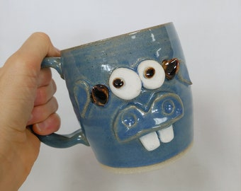 Funny Farm Cow Face Mug. Microwave Dishwasher Safe Handmade Stoneware Pottery Cow Coffee Cup Blue. Wild Eyed WAYNE Gift for Farmers. Moo.