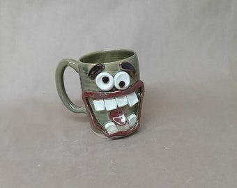 Extra Large Ceramic Coffee Mugs. Over 20 Oz Coffee Cup. Oversizd Latte Mug. Green Jumbo Mug. Big Coffee Cups Online Awkward Family Gathering