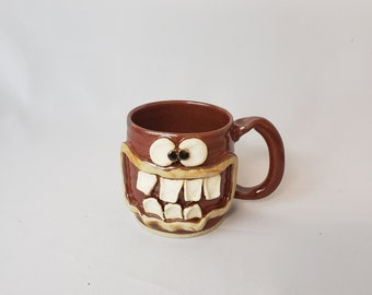 0a5ca42529e Doctor Coffee Cups. Large Red Brown Stoneware Pottery 12 Ounces. Stoneware  Pottery. Funny Dr. Mugs. Nelson Studio Ug Chug Face.