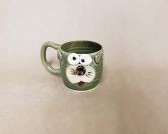 Cute Kitty Face Cup. Handmade Microwave Dishwasher Food Safe Stoneware Pottery Hot Tea Mug. Speckled Green Cat Cup made by Nelsonstudio