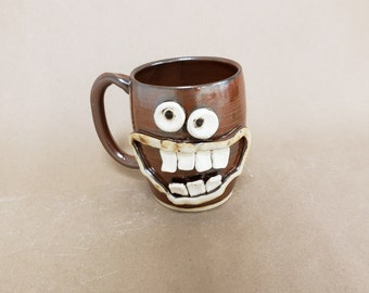 NEW. Spicy Food Hot Sauce Lover Coffee Cup. 20 Ounces. JIMBO. Funny Face Mug Red. Nelson Studio Ug Chug Pottery. Gifts for Dads Fathers Day.