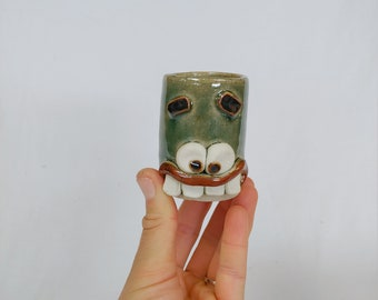 Virtual School Parent Shot Glass. Handcrafted Stoneware Face Pottery. Green. Nelson Studio Ug Chugs. Fun Barware Supplies Mother Father