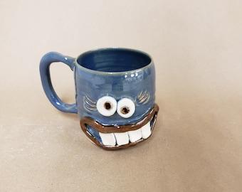 WANDA Blue Ug Chug Face Mug. 14 - 16 Ounces. Stoneware Pottery Coffee Cups and Mugs. Funny Coffee Tea Beer Lover Gift for Mom Wife Sister