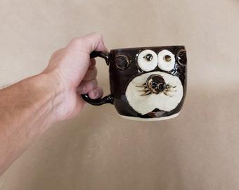 Black Cat Mug. DEXTER. Kitty Cat Lover Coffee Cups and Mugs. Nelson Studio Ug Chug Animal Face Mugs. NEW Design. 14 Ounces. Stoneware Clay.