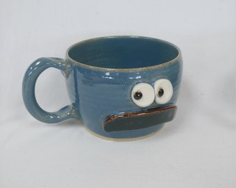 Fall Autumn Soup Bowl Blue Pottery with Handlebar Mustache. Ice Cream Dessert Snack Bowl. Morning Breakfast Cereal for Him. Mustache Lover