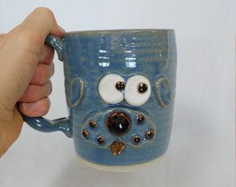 PINKERTON Pug Mug. Funny Puppy Dog Mischief Maker Coffee Cup. Pug Lover Mug Nelson Studio Ug Chug Face Mug. Gifts for Dog Lovers. Blue