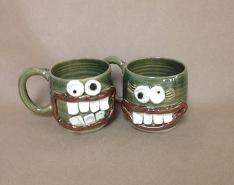 His Hers Coffee Cups. Mom Dad Husband Wife Gift. Green. Pair of Smiley Face Beer Mugs. Mr Mrs Matching Mugs. 16 Ounces. Fun Couple Pair